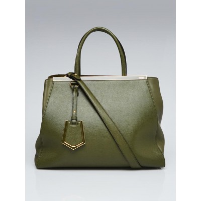 Fendi Green Vitello Leather Medium 2Jours Elite Tote Bag 8BH250