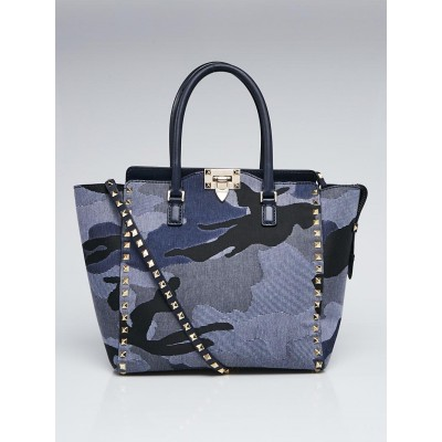 Valentino Navy Blue Camouflage Leather/Canvas Rockstud Small Tote Bag