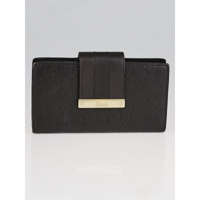 Gucci Brown Guccissima Leather Long Continental Flap Wallet