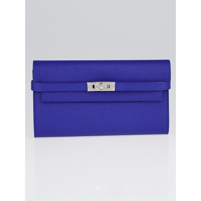 Hermes Blue Sapphire Epsom Leather Palladium Plated Kelly Longue Wallet