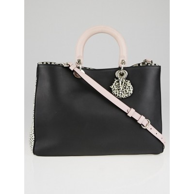 Christian Dior Black/Pink Calfskin Leather and Spotted Snake Large Diorissimo Tote Bag