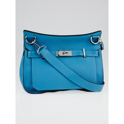 Hermes 28cm Turquoise Clemence Leather Palladium Plated Jypsiere Bag