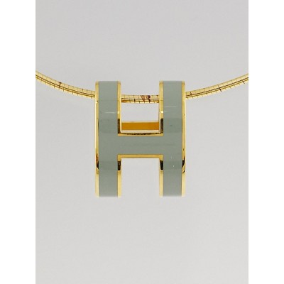 Hermes Light Blue Lacquer Gold Plated Pop H Pendant Necklace