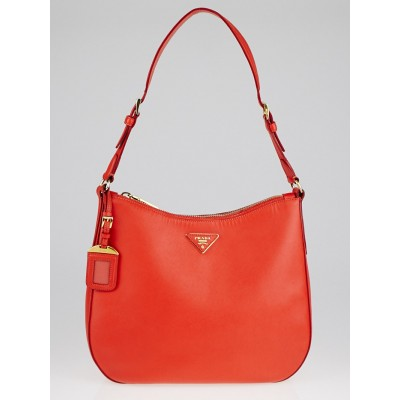 Prada Orange Saffiano Lux Leather Shoulder Bag BR4903