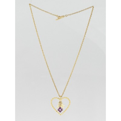 Louis Vuitton Goldtone Sweet Monogram In My Heart Pendant Necklace