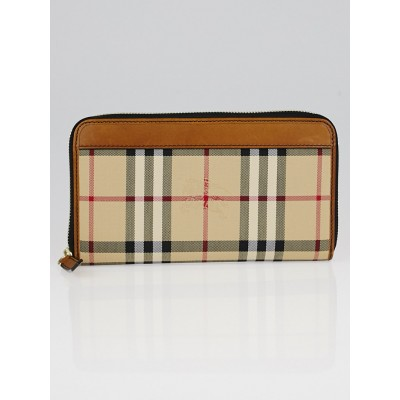 Burberry Brown Leather Haymarket Zip Around Wallet