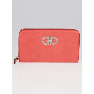 Salvatore Ferragamo Coral Saffiano Leather Long Zippy Wallet