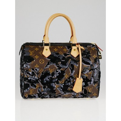 Louis Vuitton Limited Edition Fleur de Jais Speedy 30 Bag