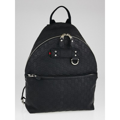 Gucci Black Rubber Guccissima Leather Backpack Bag