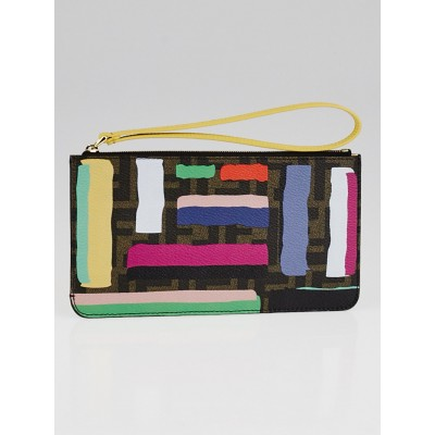 Fendi Zucca Print and Striped Coated Canvas Wristlet Pouch 8M0341
