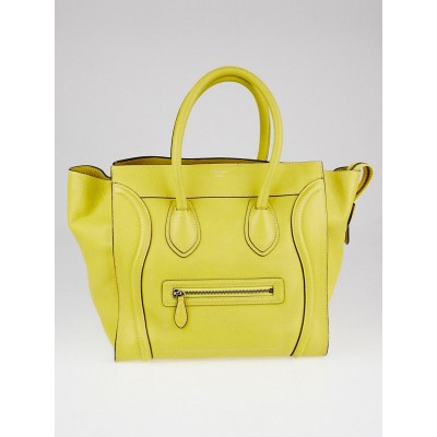 Celine Citron Drummed Calfskin Leather Mini Luggage Tote Bag