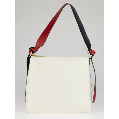 Celine White/Almond Smooth Calfskin Leather Zipped Twisted Cabas Bag