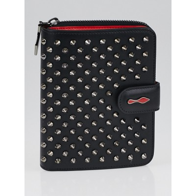 Christian Louboutin Black Leather Panettone Spikes Compact Vertical Wallet