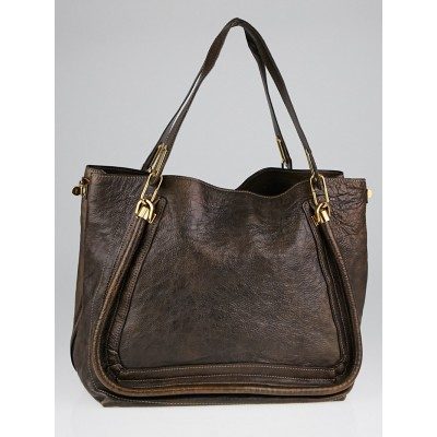 Chloe Chocolate Calfskin Leather Large Paraty Open Tote Bag