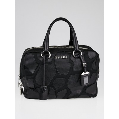 Prada Black Tessuto Nylon and Leather Patches Top Handle Satchel Bag