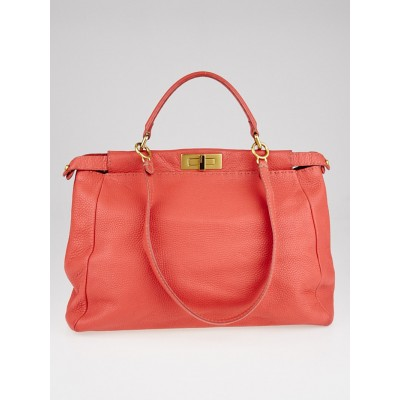Fendi Coral Selliera Leather Large Peekaboo Bag 8BN210