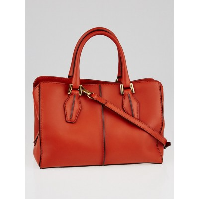 Tod's Orange Leather D-Cube Small Tote Bag