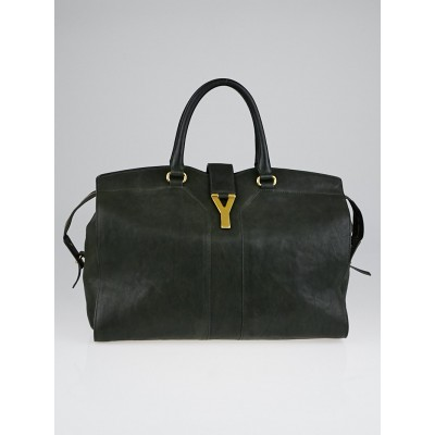 Yves Saint Laurent Dark Green Leather Large Cabas ChYc Bag