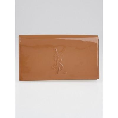 Yves Saint Laurent Dark Beige Patent Leather Belle de Jour Clutch Bag