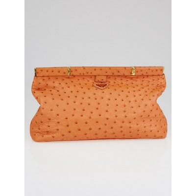 Prada Orange Ostrich Frame Clutch Bag