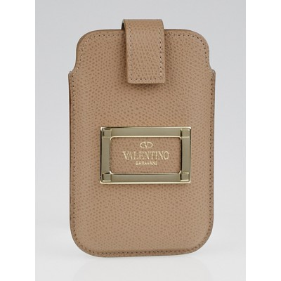 Valentino Garavani Khaki Textured Leather Case