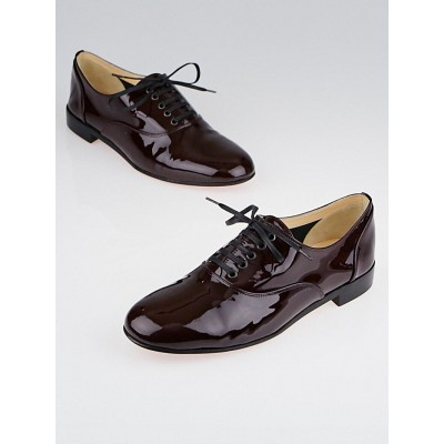 Christian Louboutin Burgundy Patent Leather Lace-Up Oxford Flats Size 7.5/38