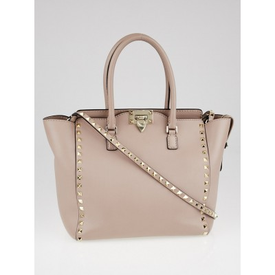 Valentino Poudre Leather Rockstud Double Handle Tote Bag
