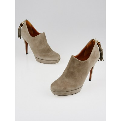 Gucci Grey Suede Bamboo Tassel Betty Booties Size 7/37.5