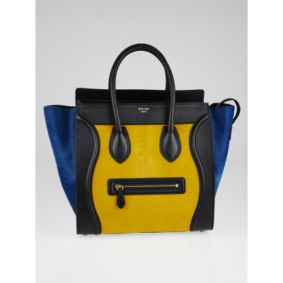 Celine Royal Blue Tri-Color Calf Hair and Leather Mini Luggage Tote Bag