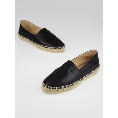 Chanel Black Lambskin Leather CC Espadrille Flats Size 39/40