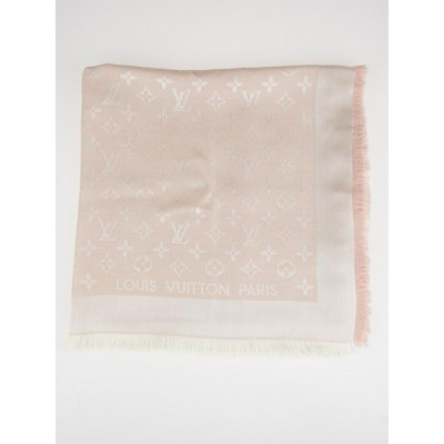 Louis Vuitton Light Pink Monogram Silk/Wool Shawl