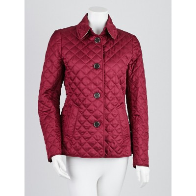Burberry Brit Magenta Quilted Polyester Copford Jacket Size S