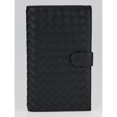 Bottega Veneta Black Intrecciato Woven Nappa Leather Continental Wallet