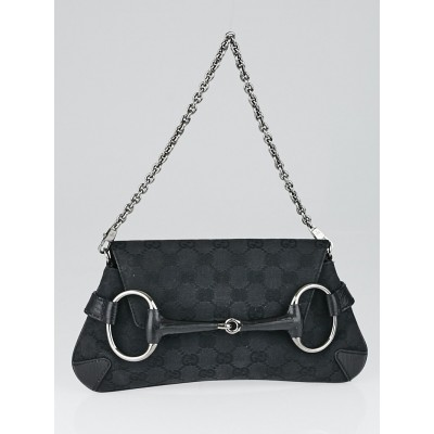Gucci Black GG Canvas Horsebit Chain Clutch Bag
