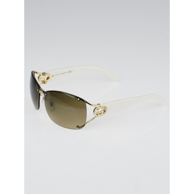Gucci Bronze Metal Frame Gradient Tint Crystal GG Sunglasses-2820