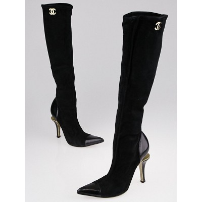 Chanel Black Suede Illusion High Boots Size 6.5/37