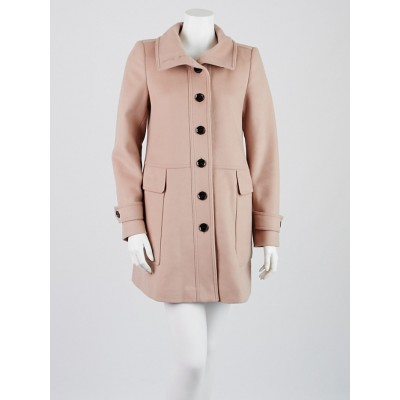 Burberry London Pale Pink Wool/Cashmere Funnel Neck Coat Size 6
