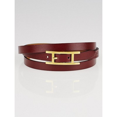 Hermes Rouge Imperial/Gold Swift Leather Hapi 3 Bracelet Size GM
