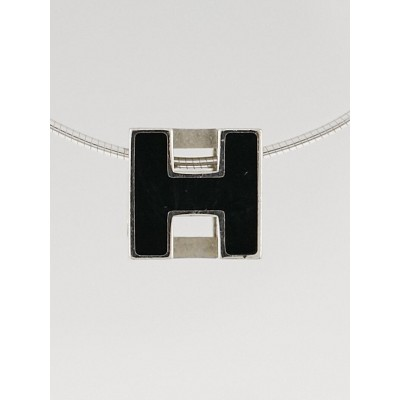 Hermes Black Enamel Sterling Silver Pop H Pendant Necklace