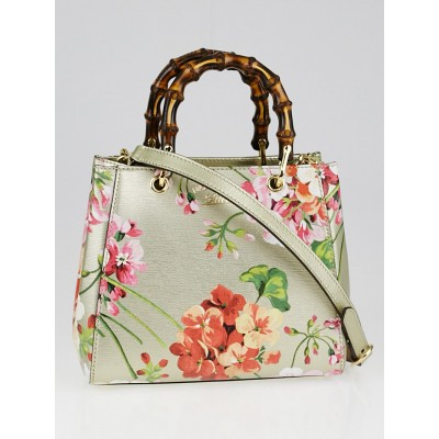 Gucci Gold Leather Blooms Print Bamboo Top Handle Mini Shopper Bag