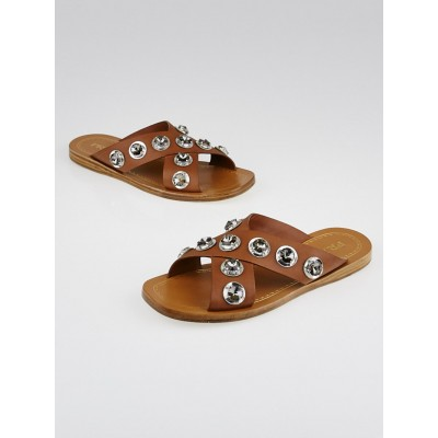 Prada Brown Leather Jeweled Slide Sandals Size 4.5/35