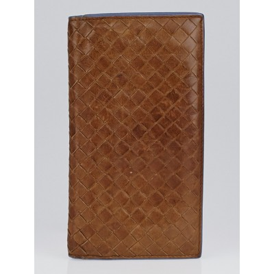Bottega Veneta Noce Intrecciato Woven Nappa Leather Long Wallet