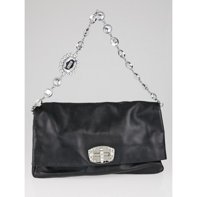 Miu Miu Black Nappa Leather Cristal Fold Over Clutch Bag