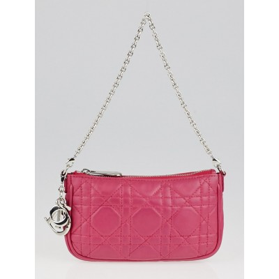 Christian Dior Pink Cannage Quilted Leather Lady Dior Mini Pochette Bag