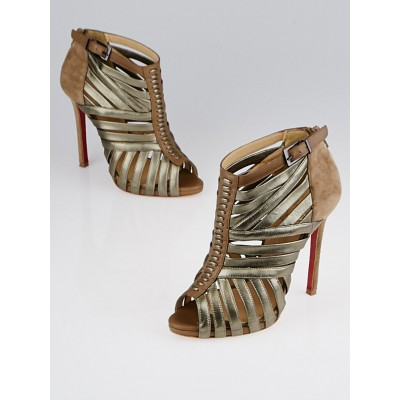 Christian Louboutin Grege/Bronze Leather Karina 120 Pumps Size 5/35.5