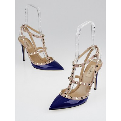 Valentino Blue/Nude Patent Leather Rockstud T-Strap Pumps size 9.5/40