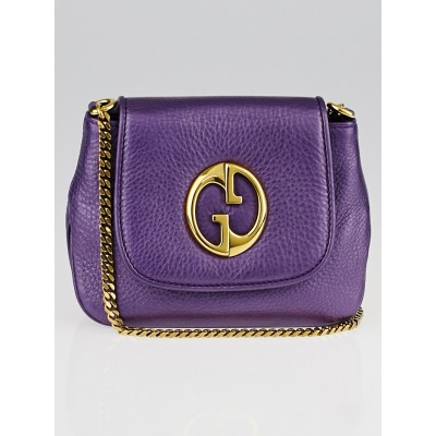 Gucci Metallic Purple Pebbled Leather'1973' Small Chain Shoulder Bag