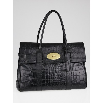 Mulberry Black Croc Embossed Leather Bayswater Bag