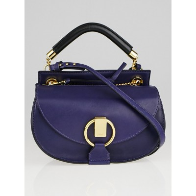 Chloe Storm Blue Leather and Suede Small Goldie Bag