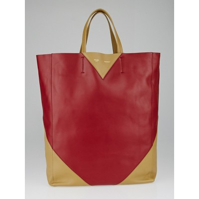 Celine Red / Camel Lambskin Leather Vertical Bi-Cabas Tote Bag